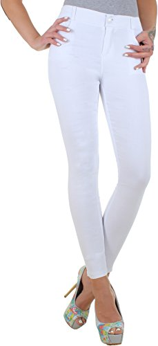 BD High Waist Damen Super Stretch Hose Jeggings Röhrenhose in schwarz, weiß, blau, braun, beige, bordeaux oder grau (38/M, Weiß) (Damen Stretch Hose)