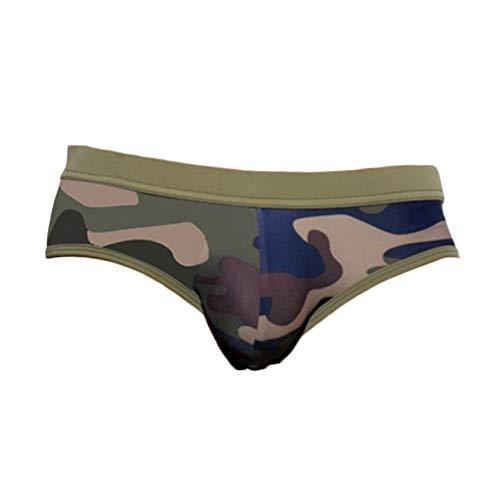 Quge Bañador Slip De Natación para Hombre Camuflaje Traje De Baño para Playa Piscina Verde del ejército M