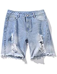 FuweiEncore Verano Pantalones Vaqueros Rasgados Hombres Grandes Flojos  Pantalones Vaqueros Flacos Pantalones Casuales Cortos en Azul 3b6ed21b99a8