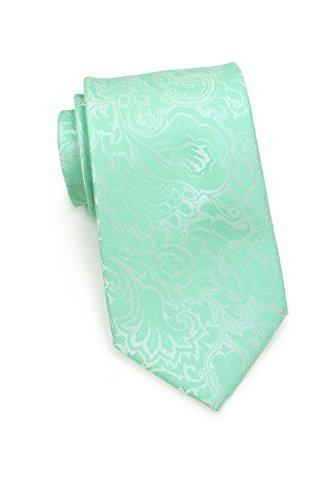 Puccini Herren Krawatte Pastellfarben, Paisley-Muster, 2 verschiedene Farben, Mikrofaser, 8,5 cm, Handarbeit (Hellgrün/Mintgrün)
