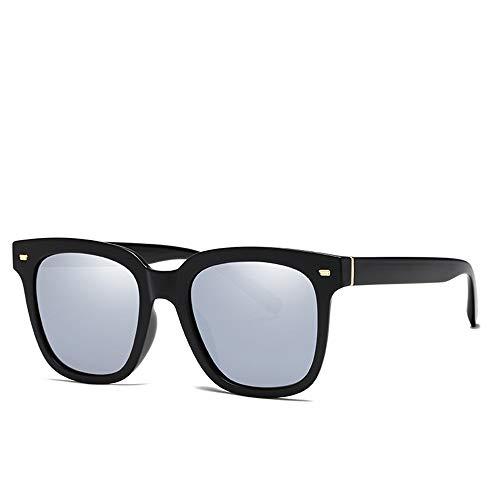 Easy Go Shopping Street Snap Sun Shades Sonnenschutz im Freien am Meer UV400 Trendy Large Frame Elegante Sonnenbrille Damen Polarized Sonnenbrille Sonnenbrillen und Flacher Spiegel (Color : Silver)