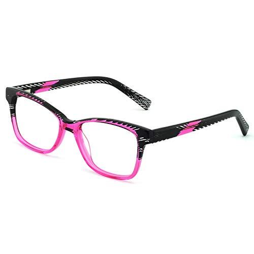 OCCI CHIARI Brillenrahmen rechteckig stilvoll Brillenrahmen farbige Brillenfassung nicht druckbare Brillen mit klaren Gläsern Geschenke für Frauen Gr. L, Balck/Pink