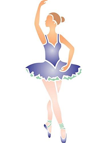 Ballerina Stencil-(dimensioni 11,5x 30,5cm) riutilizzabile stencil per stanza dei bambini-migliore qualità per cameretta bambine Stencil idee-Utilizzare su pareti, Pavimenti, tessuti, vetro, legno, terracotta, e più...
