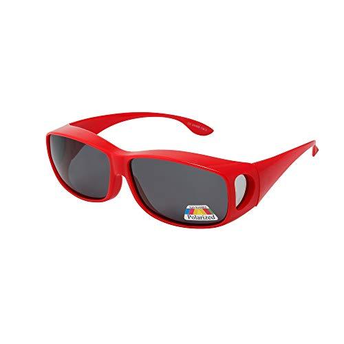 Zwei Kostüm Gut Guy - Polarisierte Überziehbrille von ASVP Shop®, Sonnenbrille zum Tragen über der eigentlichen Brille,geeignet für das Autofahren Gr. Medium, rot