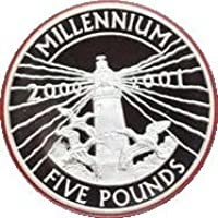 20002001Alderney faro argento prova £5cinque sterline Crown Coin con certificato di autenticità - Faro Storico Collezione
