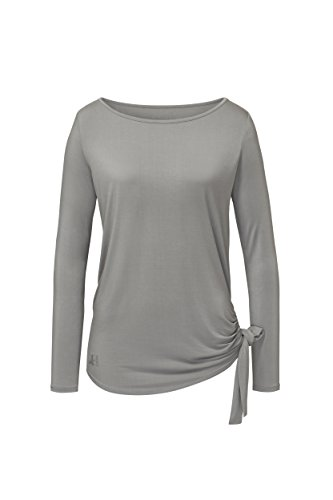 CURARE Yogawear Flow #222 Shirt mit Schleife perlgrau