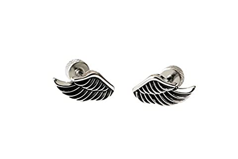Stainless Steel 16g 16Gauge Lucky Cartilage Daith Snug Tragus Helix Indutrial Barbell Love Heart Monarch Dragonfly Faux Goddess Fairy Winged Bts Angel Feather CZ Wing Ear Studs Piercing Earring-QA