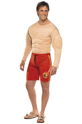 Smiffys, Herren Baywatch Rettungsschwimmer Kostüm, Muskelbrust und Angesetzte -