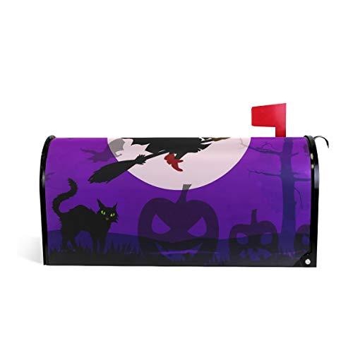 funnyy Witzige Halloween-Briefkasten-Abdeckung mit Kürbis-Hexe, magnetisch, Standardgröße 5,8 x 45,7 cm