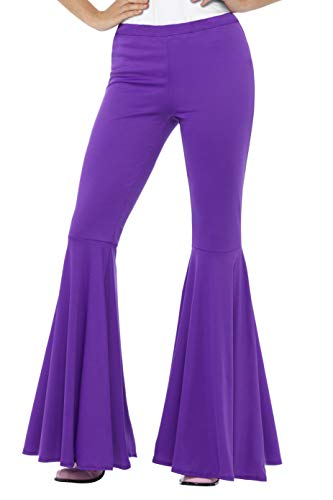 Smiffys Flared Trousers, Purple for Ladies - Sizes 8 to 18