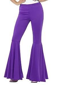 Smiffys-43076SM Pantalones Acampanados, para Mujer, Color púrpura, S a M - EU Tamaño 36-42 (Smiffy