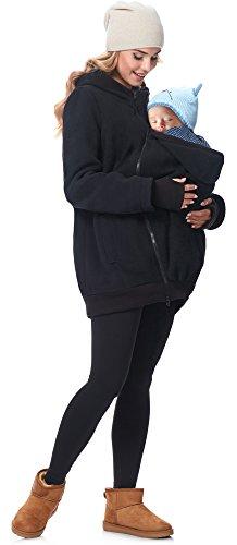 Be Mammy Chaqueta Abrigo Premamá Panel Extraíble Embarazo Ropa Invierno BE20-181 (Negro,...