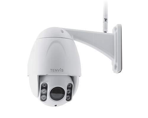 Tenvis TA702D - Telecamera IP Wi-Fi da esterno, Full HD 1080p (2.0 Megapixel), Motorizzata, Zoom Ottico 5x, Visione notturna 60 metri, Slot Micro-SD, ONVIF, P2P (Plug & Play), App in italiano