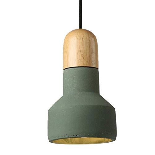 Pendelleuchte Zement Kronleuchter Kleine Pendelleuchte Einstellbare Holz Deckenleuchte for Bar Cafe Restaurant Esszimmer Minimalismus Dekoration Licht (Color : Green)