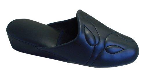 Leichte Damen Pantoffeln mit weicher Sohle und Keilabsatz,Gr.36-41,blau Navy