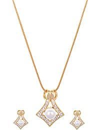 Viva Pearl Festive Pendant Set In CZ Crystal Diamonds With Gold Two Tone Plated By For Women