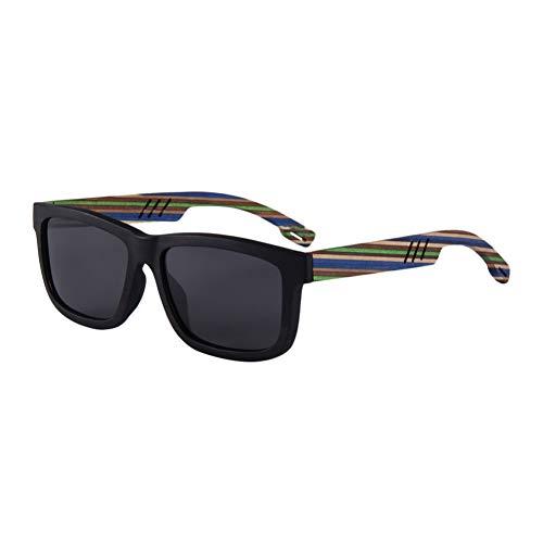 Zbertx Retro Sonnenbrille Männer Luxus Ebenholz Holzrahmen Regenbogen Holz Frauen Polarisierte Sonnenbrille,Schwarz A1