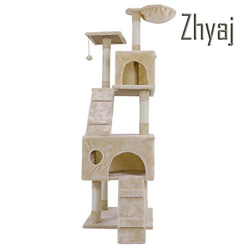 Zhyaj Katzenkratzbaum Stabil Große Größe Springender Turm Spielzeug Für Cat Play Tower Haustier-Eigentumswohnung Haus Kratzbaum,B (Katze-häuser & Eigentumswohnungen)