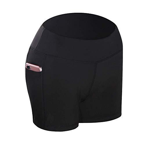 Metyere Damen Yoga Shorts Hoher Bund mit Seitentaschen Kompression Atmungsaktiv für Laufen Sport - Schwarz, Small -