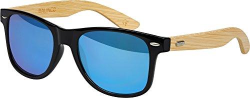 Hochwertige Bambus Holz Nerd Sonnenbrille Rubber im Wayfarer Stil Retro Vintage Unisex Brille mit Federscharnier - 9 verschiedene Farben/Modelle wählbar (Bambus - Blau verspiegelt)
