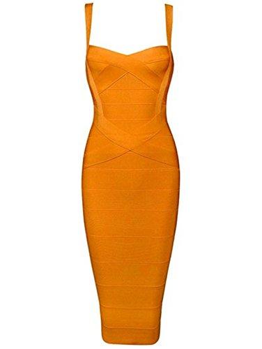 Whoinshop Damen Rayon Strap Mittelkurz Abendkleid Partykleid VerbandKeid (S, Orange)