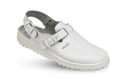 """AWC Herren-Sandale """"Classic-Line"""" mit verstellbarem Ristriemen und Hinterriemen , Farbe weiß Weiß"""