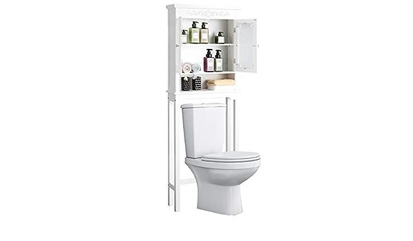 Goplus Scaffale da Bagno con Armadietto Scaffale sopra Toilette da Bagno 60,5x19x170cm