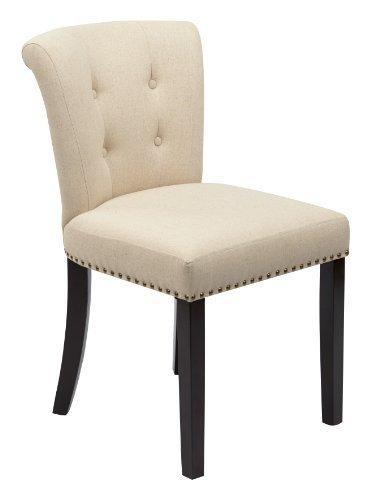 Ave Six Kendal Tufted and Inner Spring Chair with Nailhead Detail and Solid Wood Legs, Linen Fabric by Avenue Six