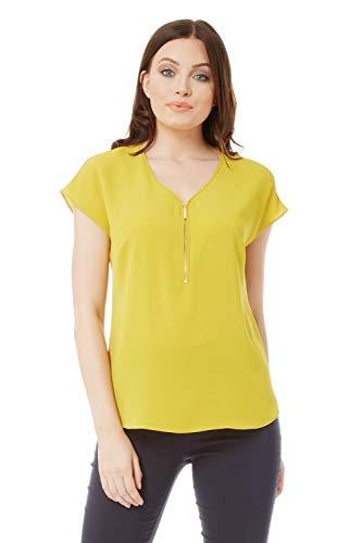 Roman Originals Damen kurzärmeliges Top mit V-Ausschnitt - Damen Blusen für Arbeit, elegant, Büro, Vorstellungsgespräche, Business, zum Ausgehen - Limette - Größe 42