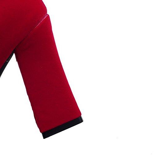 VogueZone009 Damen Rund Zehe Hoher Absatz Mattglasbirne Rein Stiefel mit Schnalle Rot