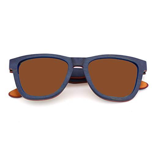 WULE-RYP Polarisierte Sonnenbrille mit UV-Schutz Unisex-Mode aus Holz polarisierte Augenschutz Sonnenbrille, UV400-Objektiv. Superleichtes Rahmen-Fischen, das Golf fährt (Farbe : Braun)