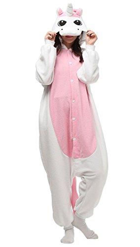 Aivtalk Jumpsuit Tier Cartoon Pyjama Schlafanzug Fasching Halloween Kostüm Sleepsuit Onesie Cosplay Fleece-Overall Erwachsene Unisex Kigurumi Tieroutfit - Weiß (Weiße Dame Kostüme Die Halloween)