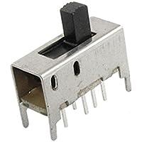 sourcing map 10 Piezas de DC 50V 0.5A 3 Posición 2P3T DP3T Vertical Interruptor Deslizante 8 Pin PCB SS23D03