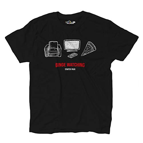 Camiseta Serie Tv T-shirt Binge Watch Maraton T.V. Series Nerd Watching L black