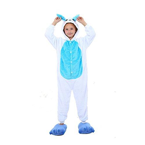 Tickos Unisex Kinder Hase Onesies lustige Tier Pyjamas Pyjamas Halloween Kostüm Overalls (Hase-Blau, 110CM)