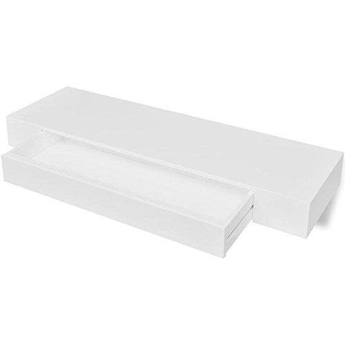 vidaXL Estantería suspendida de Tablero MDF Blanco con un cajón para Libros/DVDs