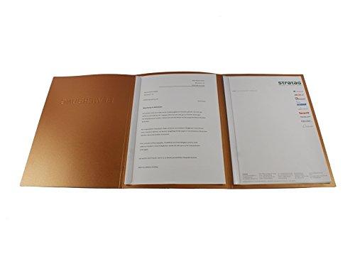 5 Stück 3-teilige Bewerbungsmappen kupfer mit 2 Klemmschienen im Esclusiva-Design // inkl. 5 Versandumschläge in weiß // in 1A-Premium-Qualität mit hochwertiger Prägung '' BEWERBUNG '' // direkt vom Hersteller STRATAG // Produkt-Design von '' Mario Lemani ''
