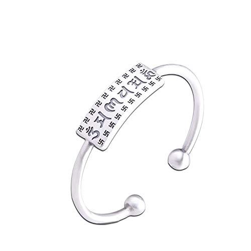 Моника Damenarmband - Vollsilber 999 Sterling Silber Schmuck handgefertigt gebürstet Ms. Six-Word Mantra Open Armband