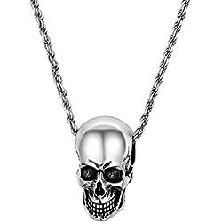 U7 Collar Plata de Ley diseño de motero gótico para hombres y mujeres, punk