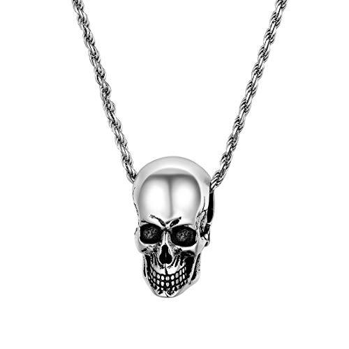 U7 Herren Halskette 925er Silber Kordelkette mit Totenkopf Schädel Skull Anhänger Gotik Punk Stil Schmuck für Unisex Frauen Jungen (Stil Schmuck)