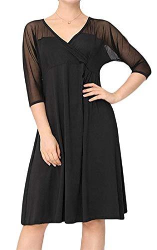 Somoll Frauen Bequeme Swing 3/4 Ärmel Kreuz Low Cut solide Stitching Mesh Mid Dress (Farbe : Schwarz, Größe : Klein)