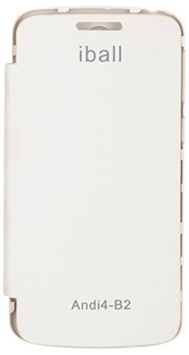 iCandy™ Synthetic Leather Flip Cover For iBall Andi 4 B2 - WHITE  available at amazon for Rs.170