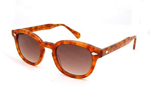 LKVNHP Sorbern Mode Retro Runde Sonnenbrille Männer Frauen Klassische Designer Acetat Gläser Allmähliche Linse Kreis Sonnenbrille GogglesBlonde Allmähliche Braun