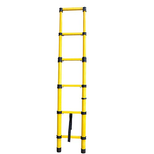 Escalera de extensión de Fibra de Vidrio Escaleras telescópicas Ligeras no conductivas, Resistentes, Altas, de 2,5 o 3 m con protección for los Dedos (Size : Straight Ladder 3m)