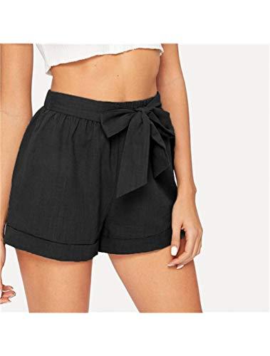 OBMYPO Frauen Shorts Frauen Shorts Self Belted Elastic Waist Cuffed Shorts Damen Streetwear Casual Straight Leg Shorts Sommer Damen Solid Shorts, Schwarz, L (Shorts Cuffed Frauen)