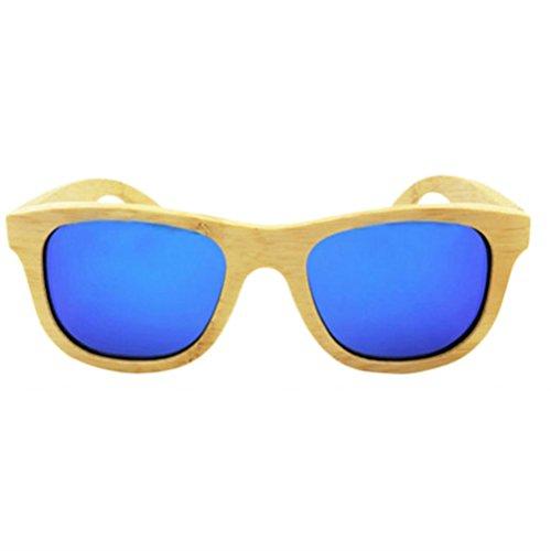 HBselect Unisex Bambu Gafas De Sol Para Hombre Polarizadas Retro Gafa De Sol De Mujer UV400 Con Caja De Madera