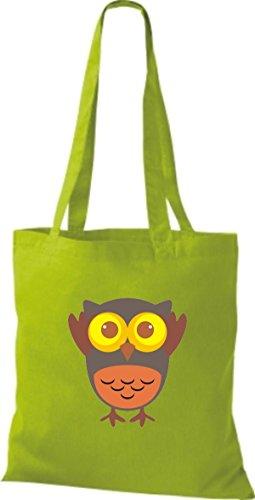 ShirtInStyle Jute Stoffbeutel Bunte Eule niedliche Tragetasche mit Punkte Karos streifen Owl Retro diverse Farbe, lime