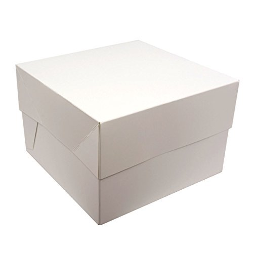 White SQUARE Cake BOXES - PACKS OF 5 - perfect for transporting your creations! (12 Inch) by Reynards