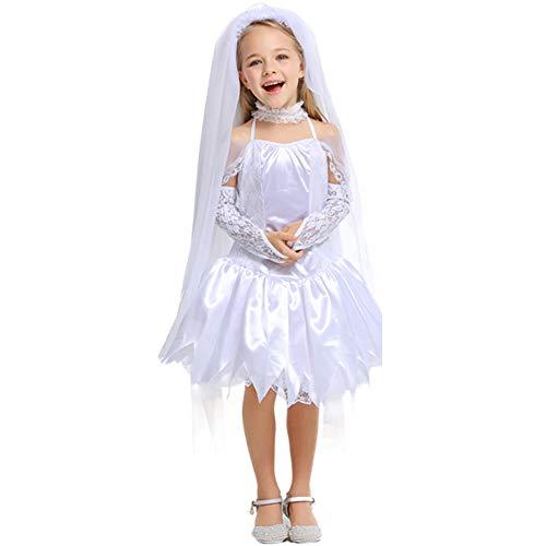 (YFCH Kinder Ghost Bride Ghost Festival Prinzessin Kleid White Angel Kleid Kinderkostüme Karneval/Kindertag Festival,Weiß)