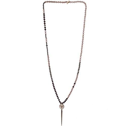 KELIITCH Vintage Handmade Scheibe Halskette Perlen Kette mit Kupfer Nadel Anhänger - B
